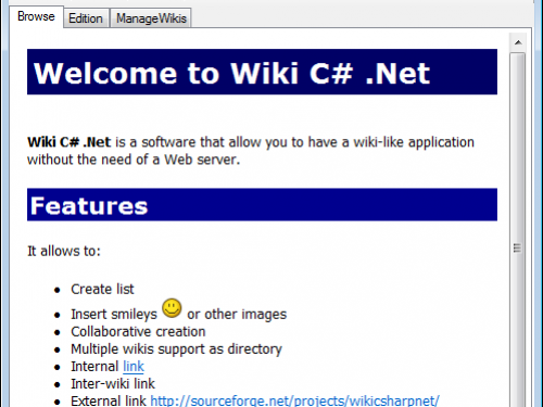 Wiki CSharp .NET Screenshot